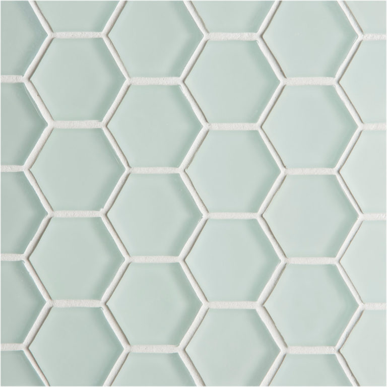 Glacier Light Green Glass Hexagon Mosaic Tile