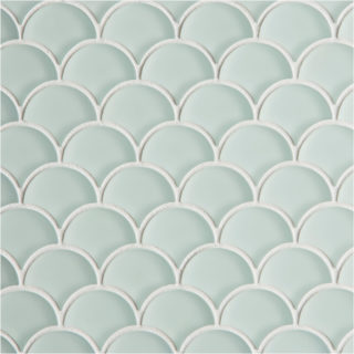 Glacier Light Green Glass Scallop Mosaic Tile
