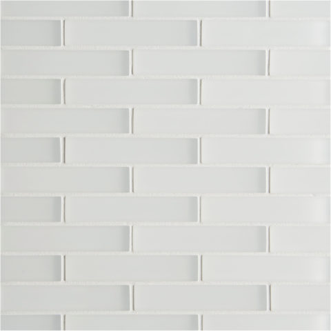 Glacier White Glass Brick Mosaic