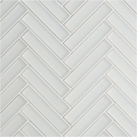 Glacier White Glass Herringbone Mosaic