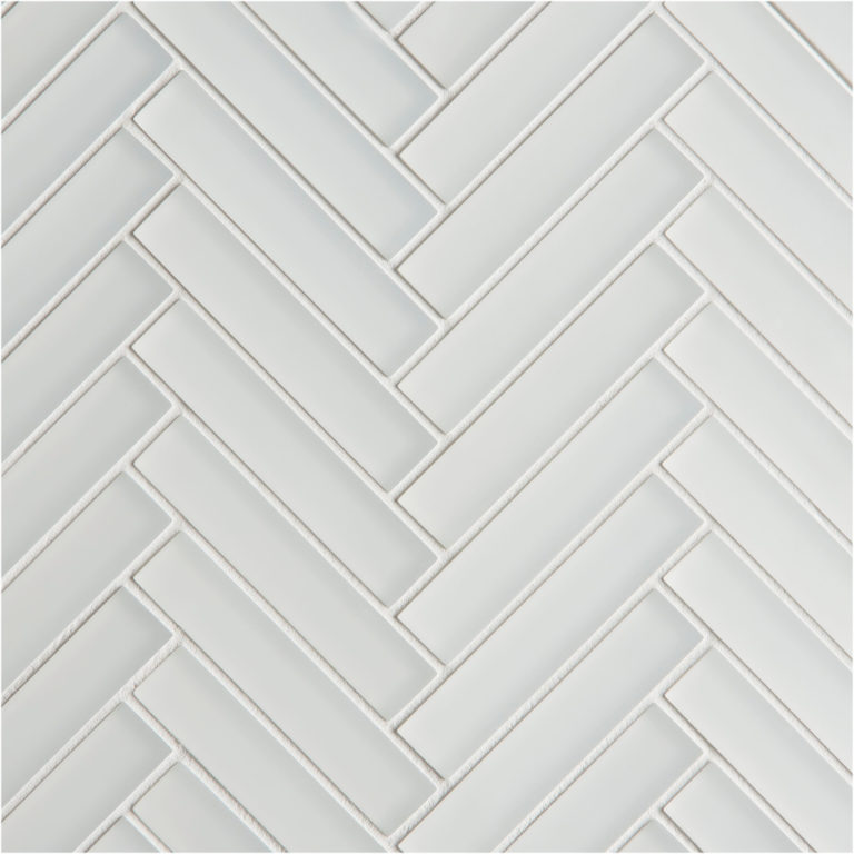 Glacier White Glass Herringbone Mosaic Tile