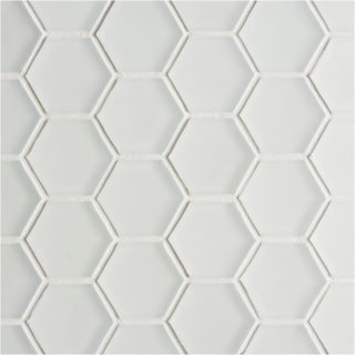 Glacier White Glass Hexagon Mosaic Tile