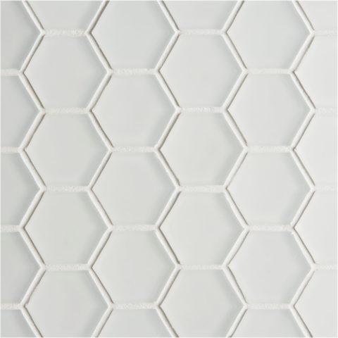 Glacier White Glass Hexagon Mosaic