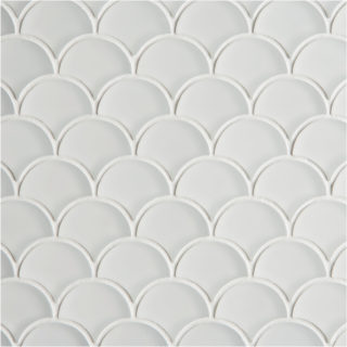 Glacier White Glass Scallop Mosaic Tile