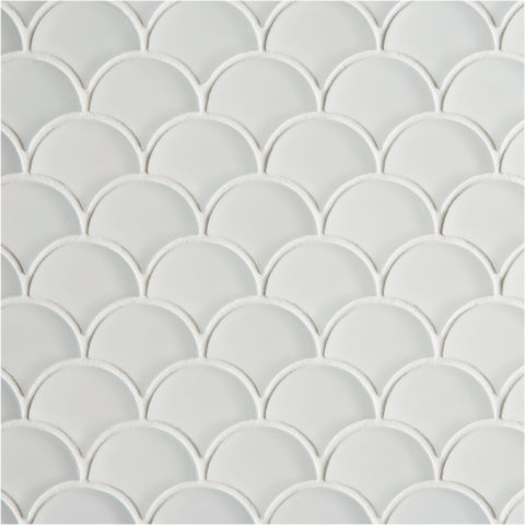 Glacier White Glass Scallop Mosaic