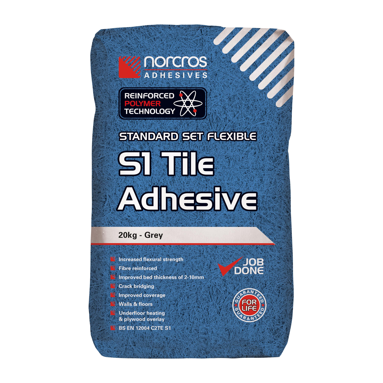 Norcros Standard Set Flex S1 Grey Wall & Floor Adhesive Tiles ...