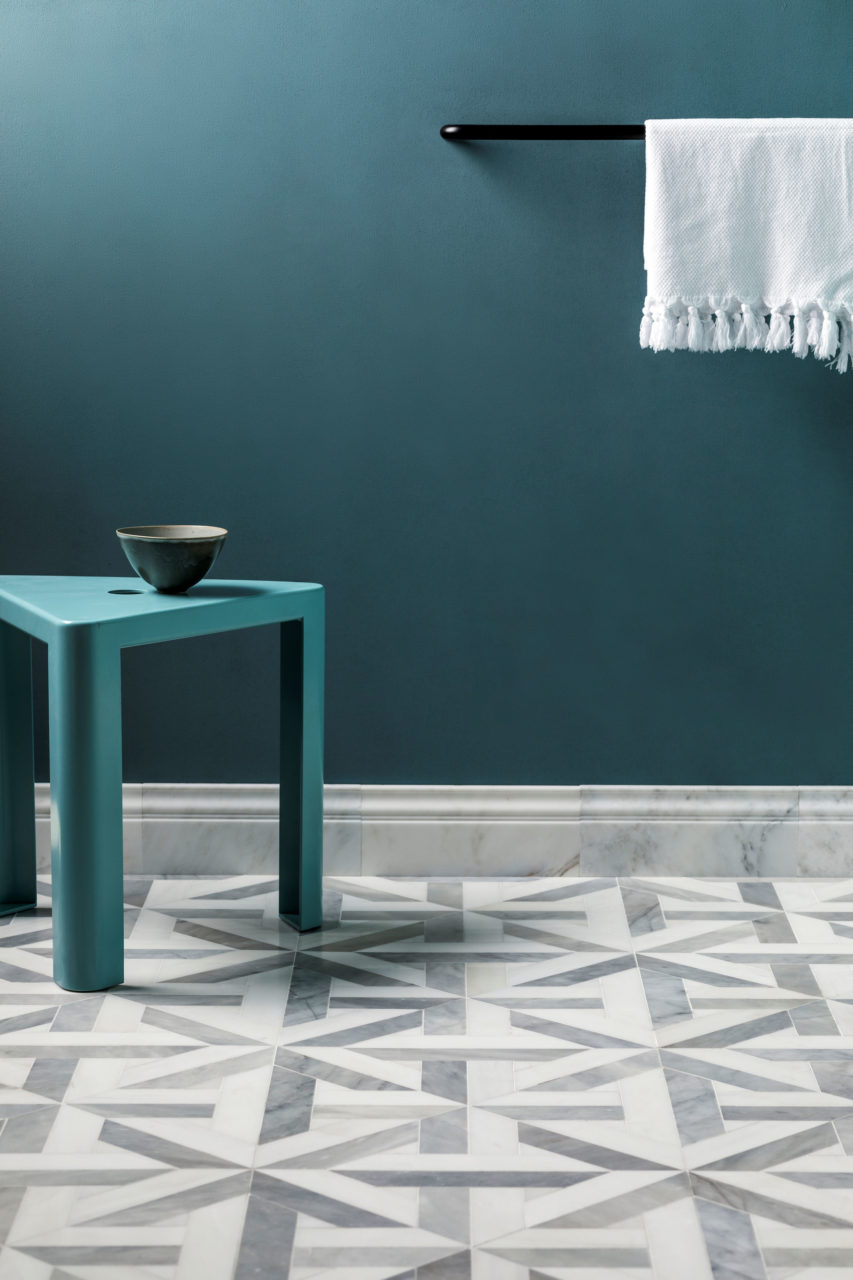 Alps Large Lattice & Alsace Honed Marble Skirting Tiles