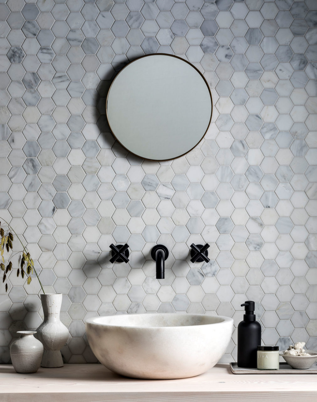 Alsace Honed Marble Hexagon Mosaic Tiles
