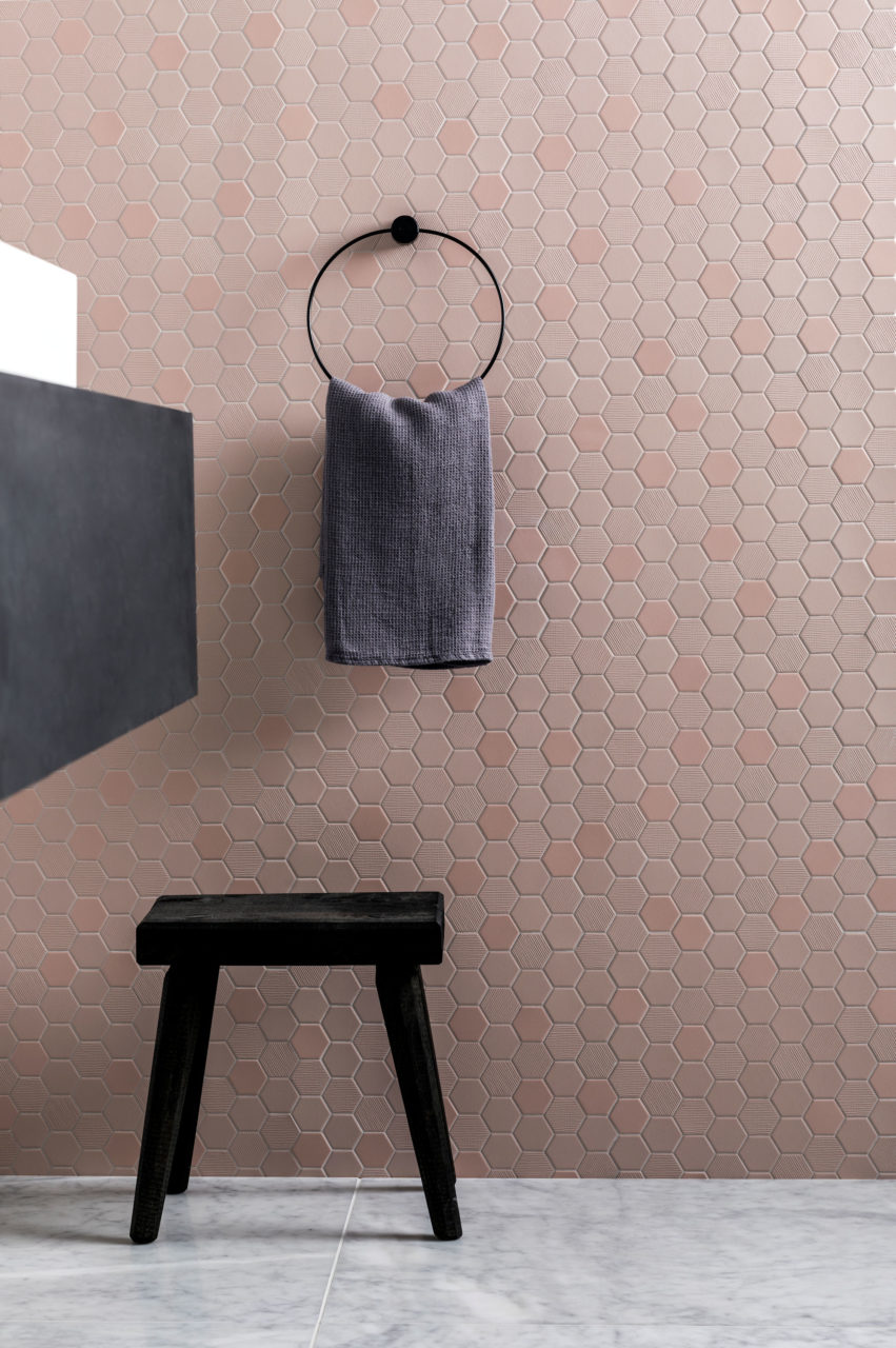 Carrara Vein Marble & Hexa Blush Porcelain Mosaic Tiles