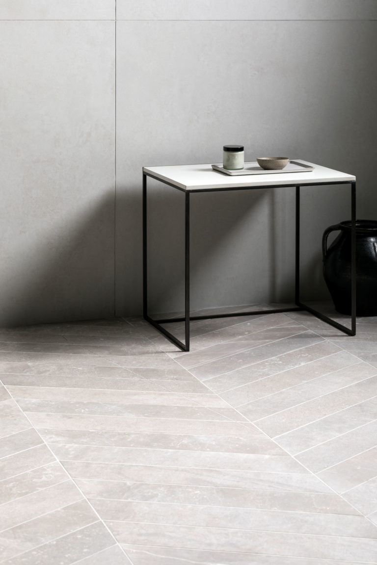 Cemento White Matt & Fusion Grey Matt Porcelain Chevron Tiles