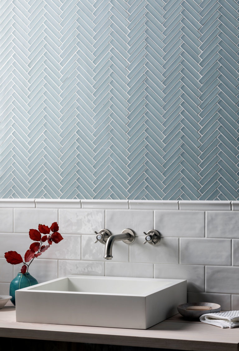 Glacier Grey Herringbone Mosaic Tiles & Paintbox Milk Tiles