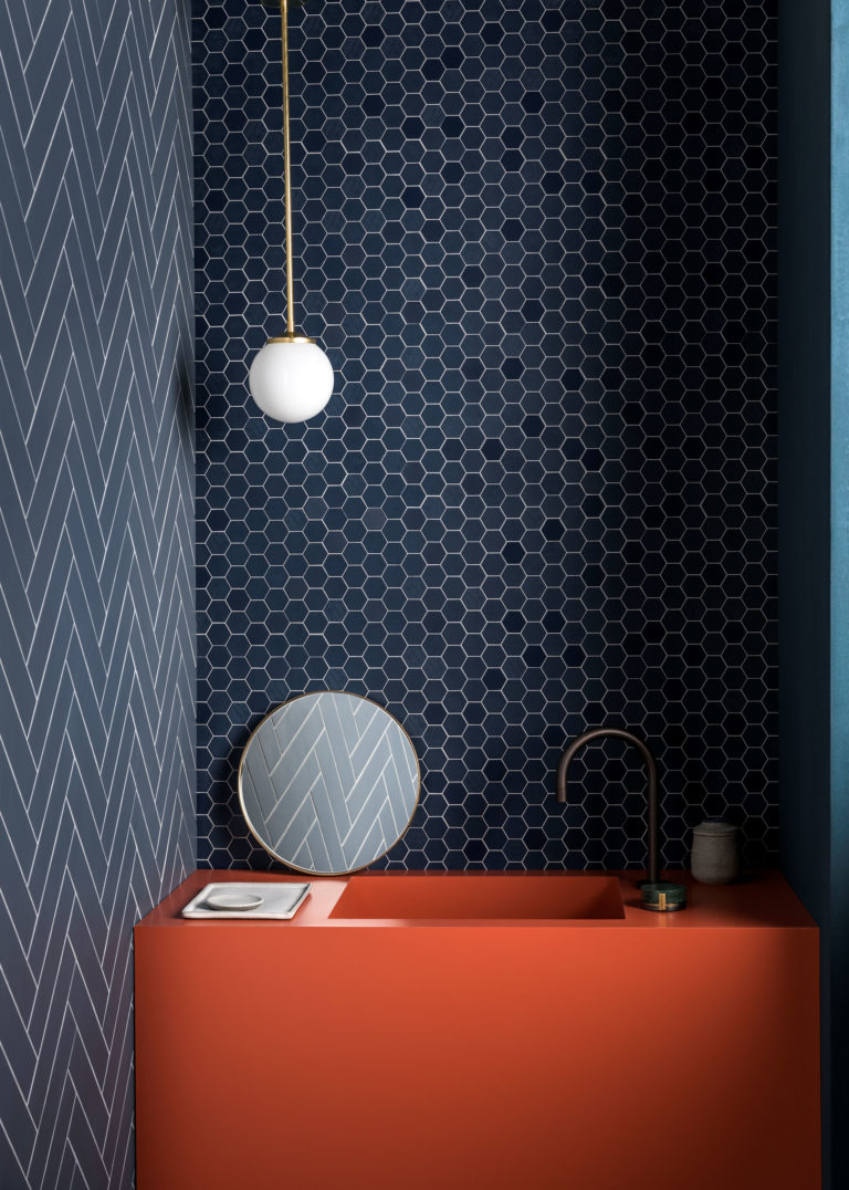 Hexa Navy Porcelain Mosaic Tiles Mandarin Stone