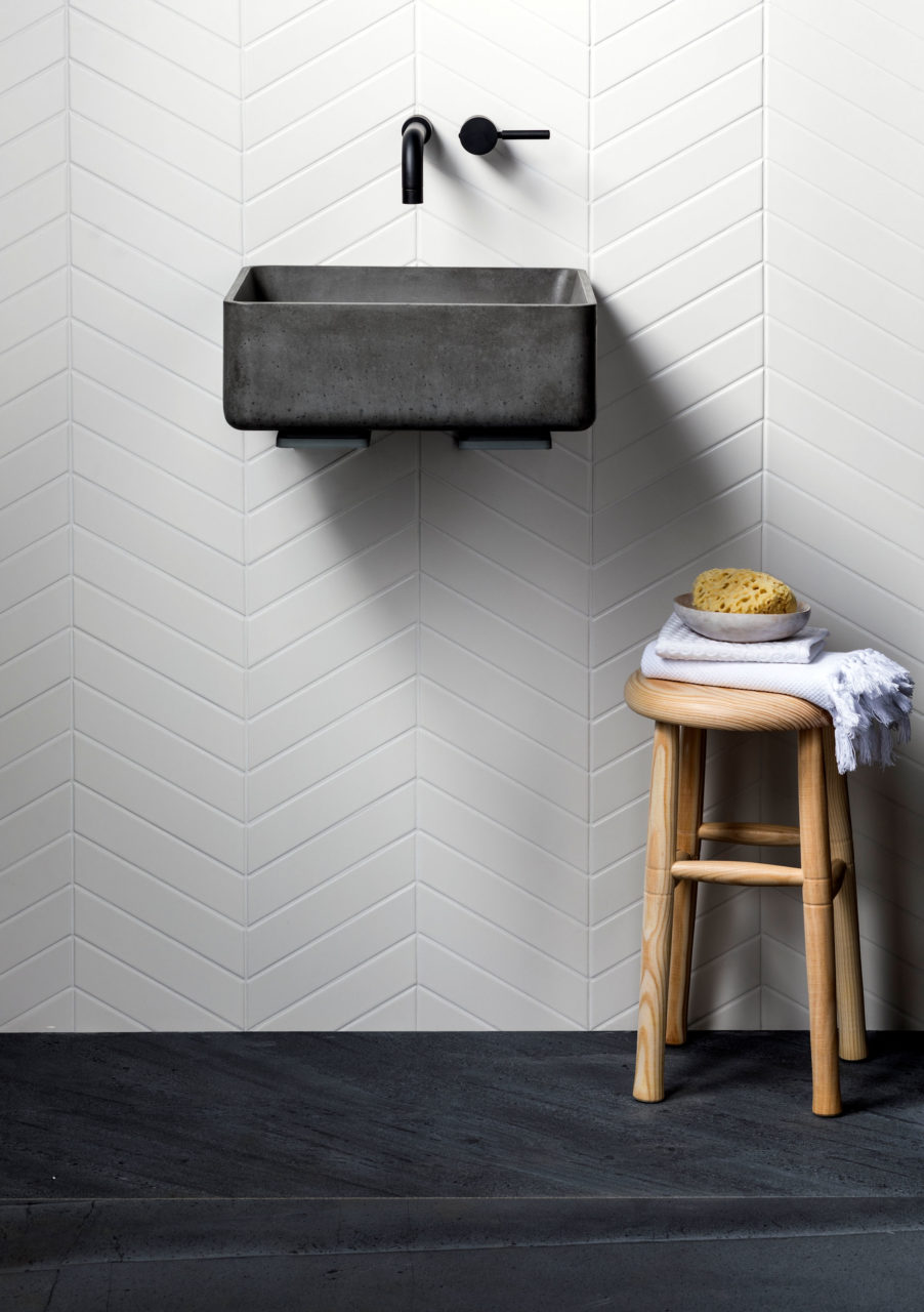 Monastir White Matt Chevron Tiles