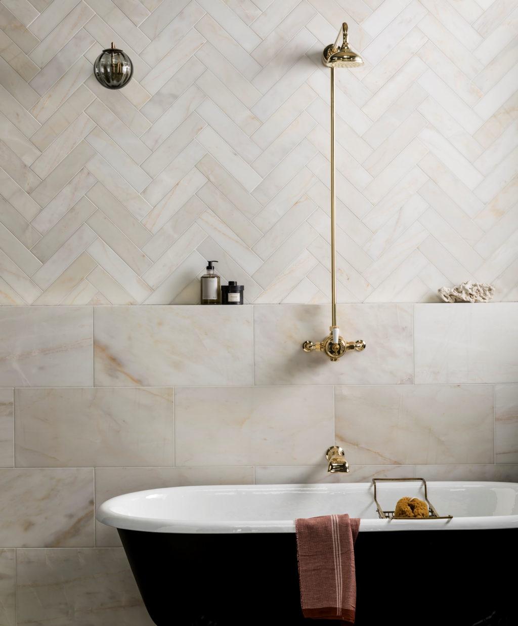 Calacatta Amber Honed Marble Tiles Mandarin Stone