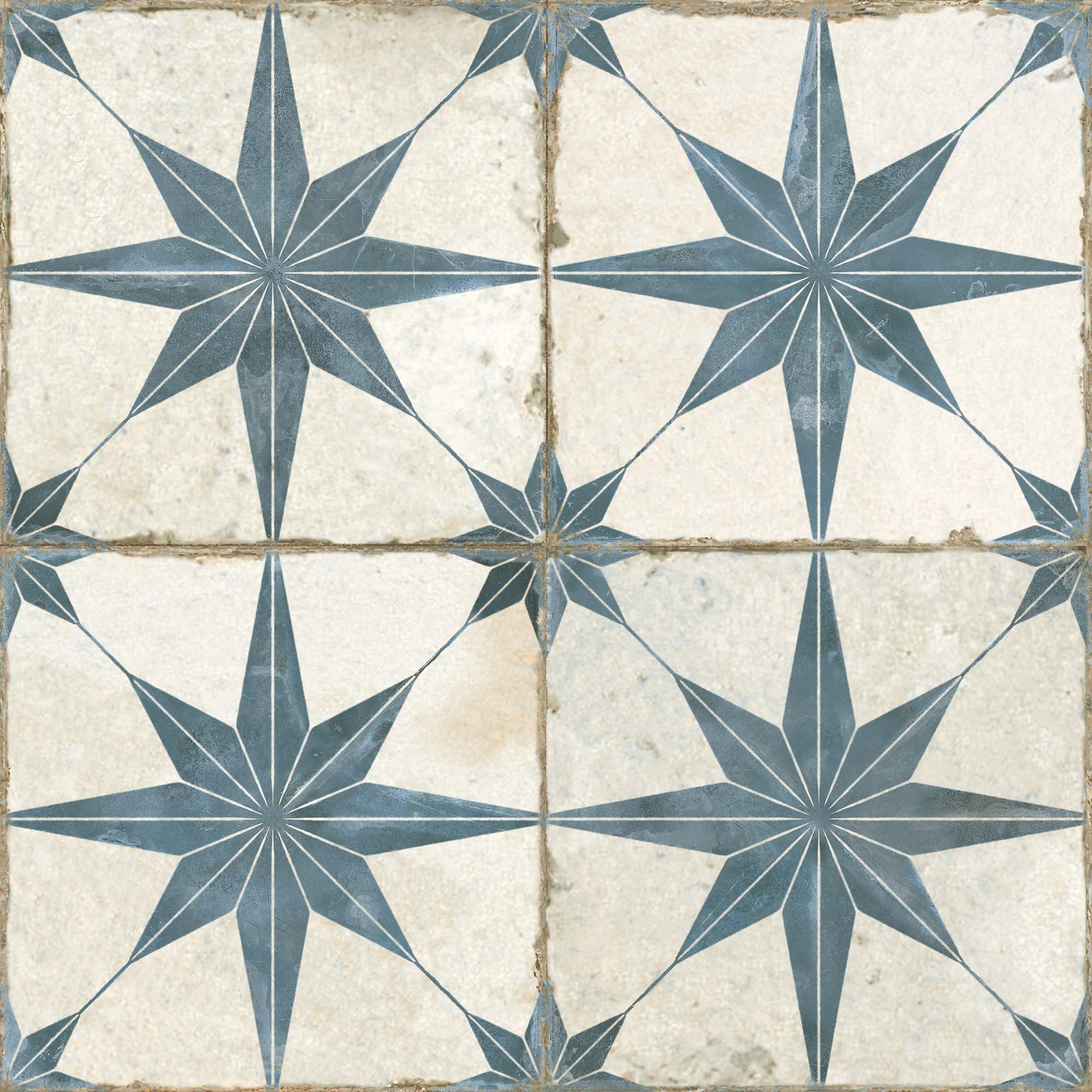 Motif Blue Star Ceramic Tiles Mandarin Stone