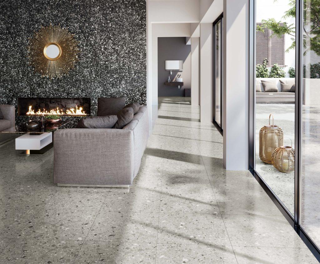 Terrazzo Nouveau Grey Matt Porcelain Tile Mandarin Stone