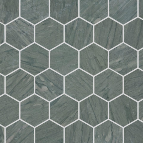 Verdi Capri Honed Marble Hexagon Mosaic