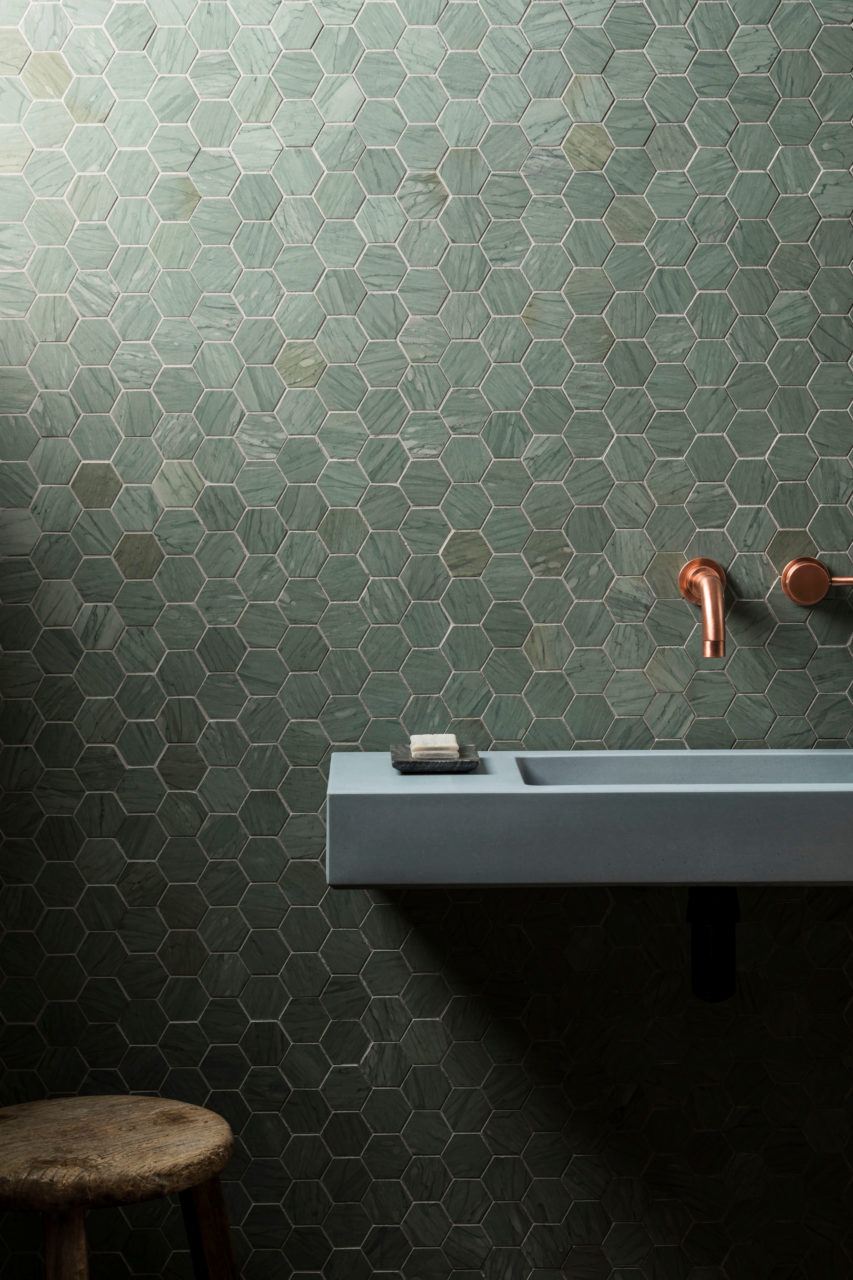 Verdi Capri Honed Hexagon Marble Mosaic