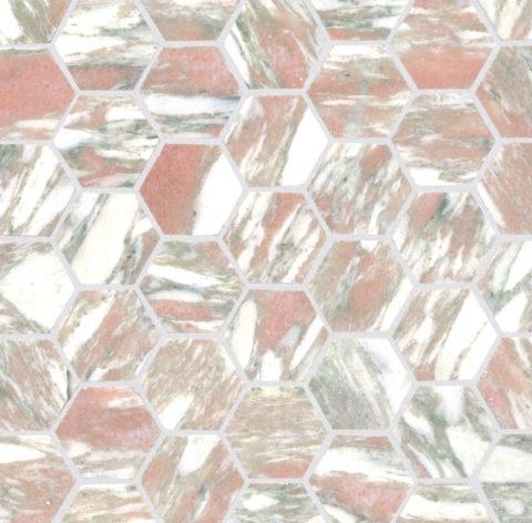 Valentina Honed Marble Hexagon Mosaic
