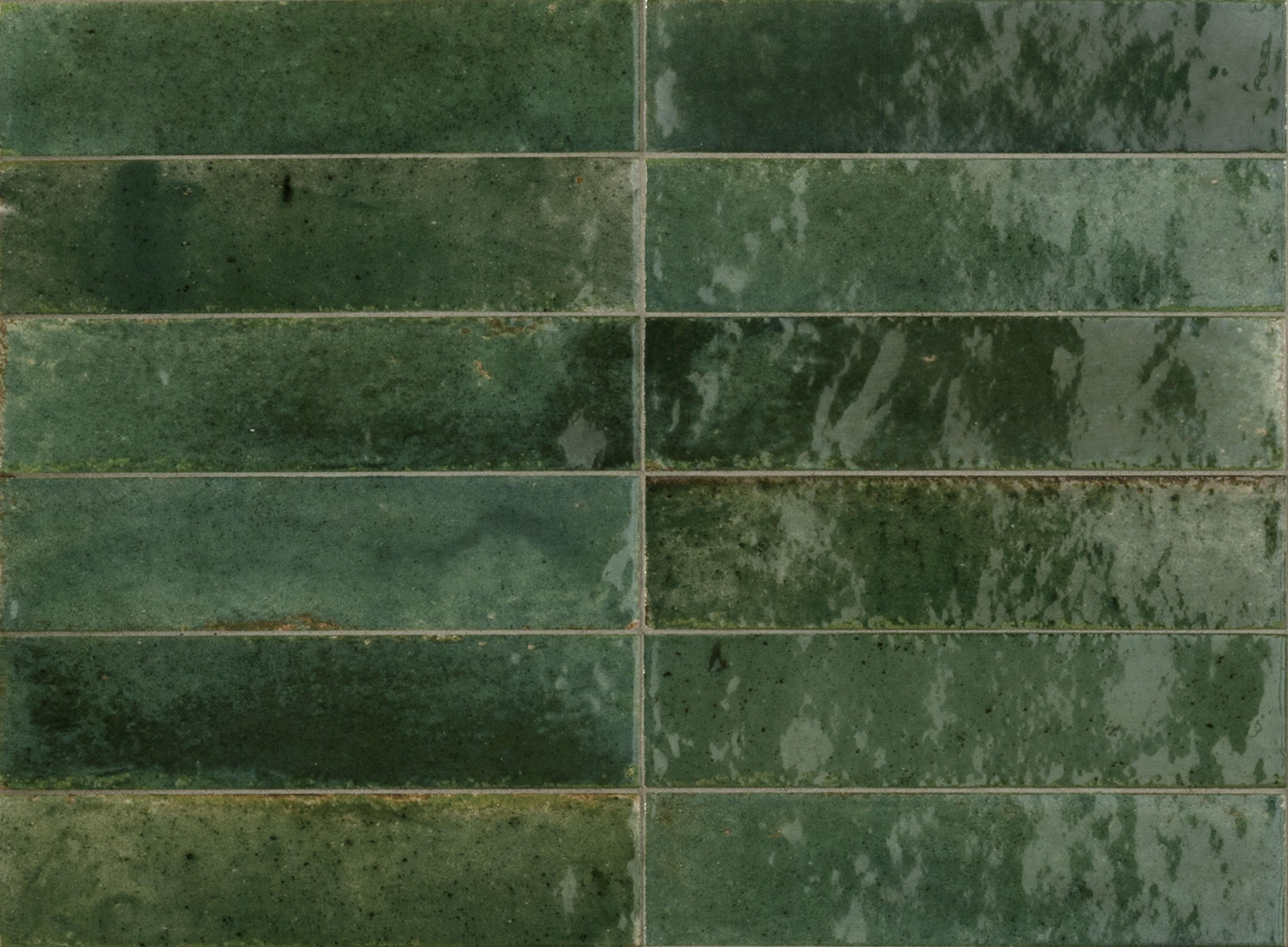 Hoxton Bottle Green Gloss Porcelain Tiles Mandarin Stone