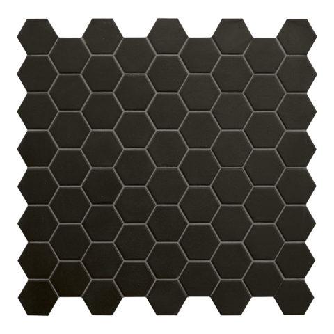 Hexa Black Matt Porcelain Mosaic