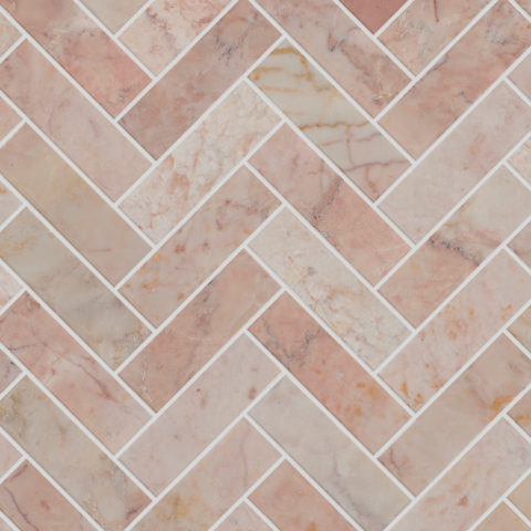 Rosalina Honed Marble Herringbone Mosaic