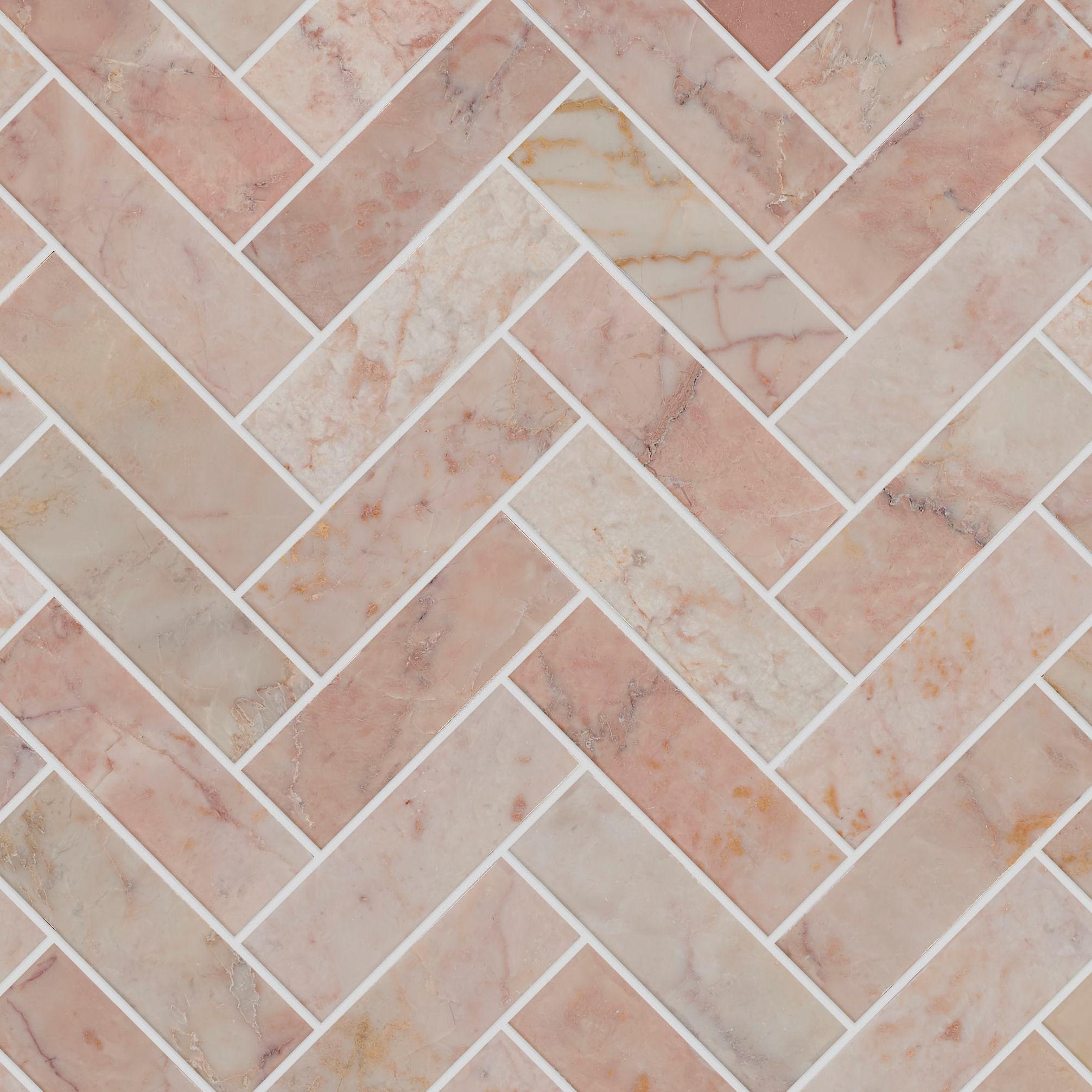 Rosalina Honed Marble Herringbone Mosaic Tiles Mandarin Stone