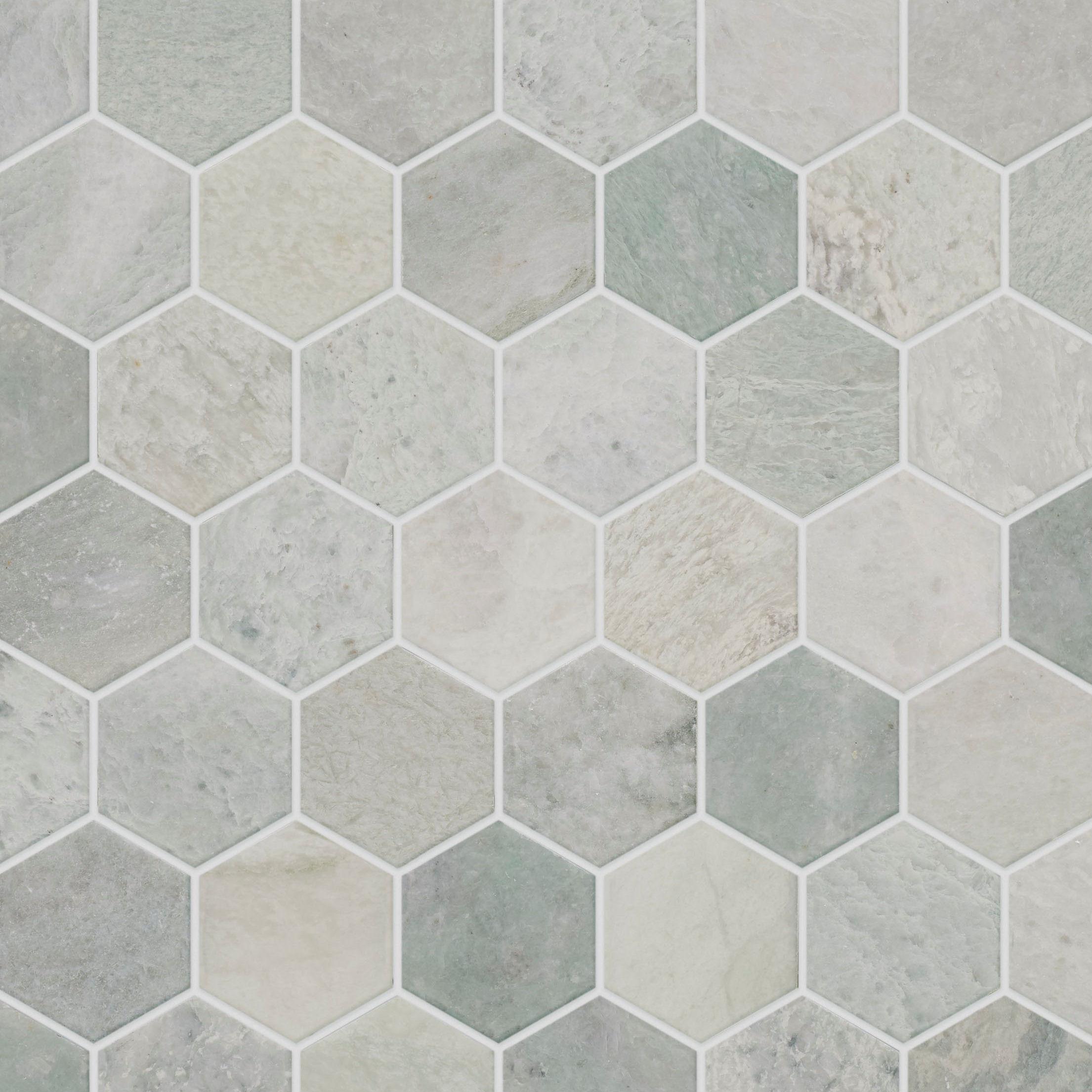 Verbena Honed Marble Hexagon Mosaic Tiles Mandarin Stone