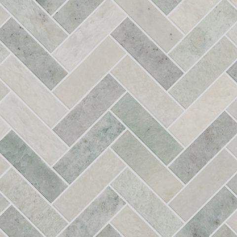 Verbena Honed Marble Herringbone Mosaic