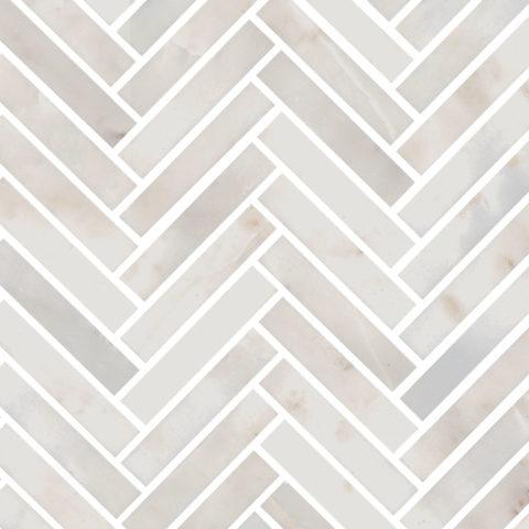 Calacatta Amber Honed Marble Herringbone Mosaic