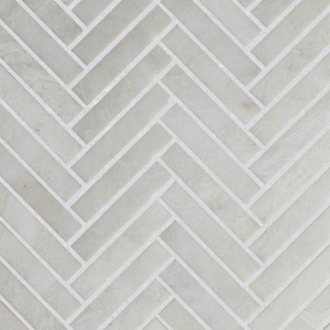 Alpina Honed Marble Herringbone Mosaic