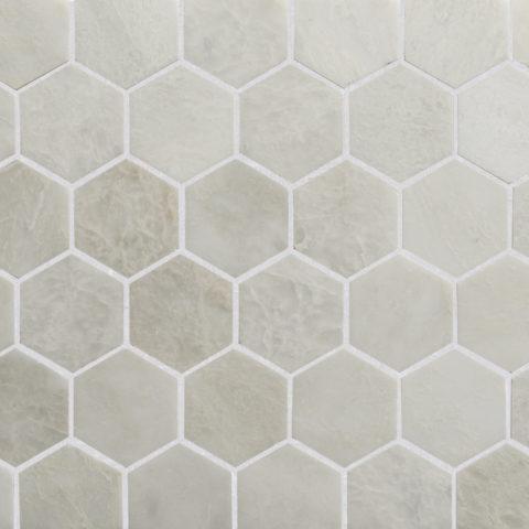 Alpina Honed Marble Hexagon Mosaic